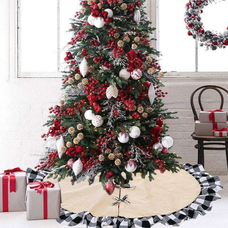Christmas Linen Black And White Side Tree Skirt Decoration Supplies Creative New Red And Black Lattice Tree Skirt