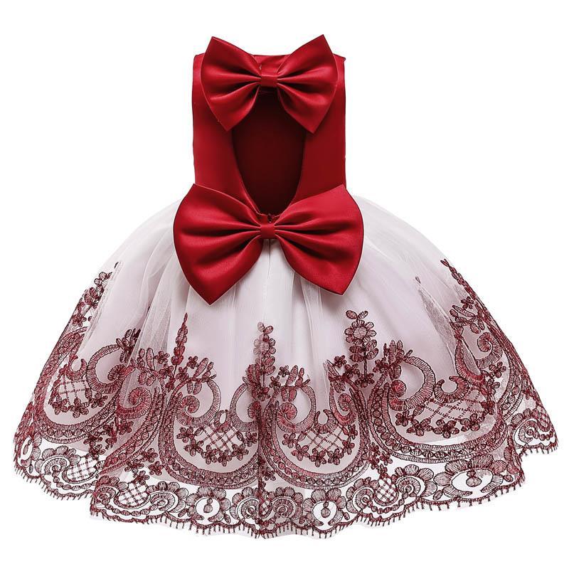 Kids Dresses For Girls Birthday Party Wedding Dress Children Girls Bowknot Lace Tutu Princess Christmas Dress Baby Girl Clothes F1202
