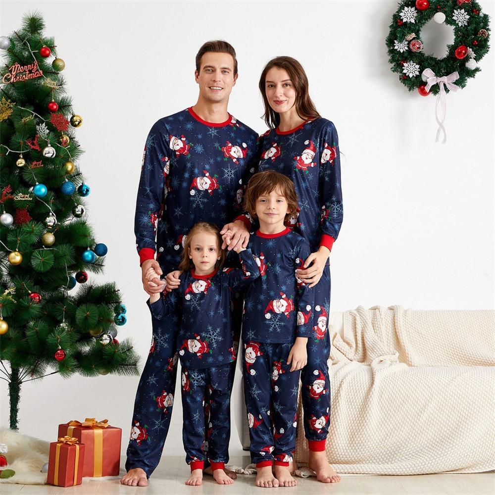 Новая семья, сопоставление рождественские пижамы наборы Xmas взрослый отец мать дочь Санта-Клаус печати спать ночной костюм одежды