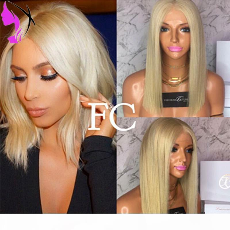 HOTSALES COURT BOB WIG blonde résistant à la chaleur synthétique gluante perruques avant pour femmes noires et blanches