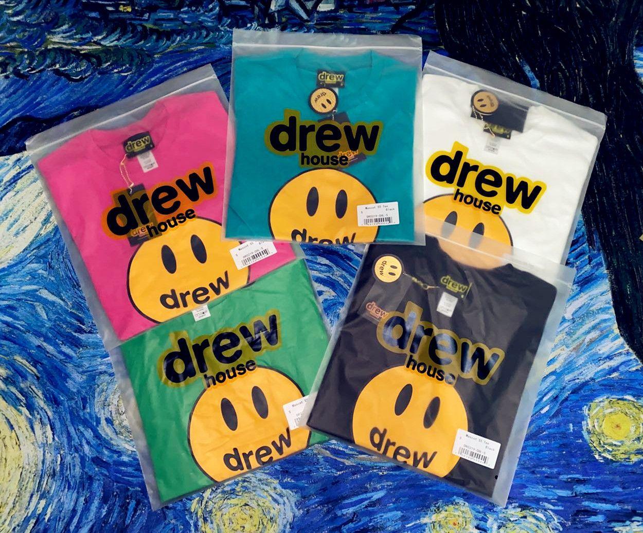 2021ss Drew House Yeni Varış Drew House T Gömlek Gülümseme Drew Hip Hop Tee Moda Erkek Tshirt Kısa Kollu O-Boyun Pamuk