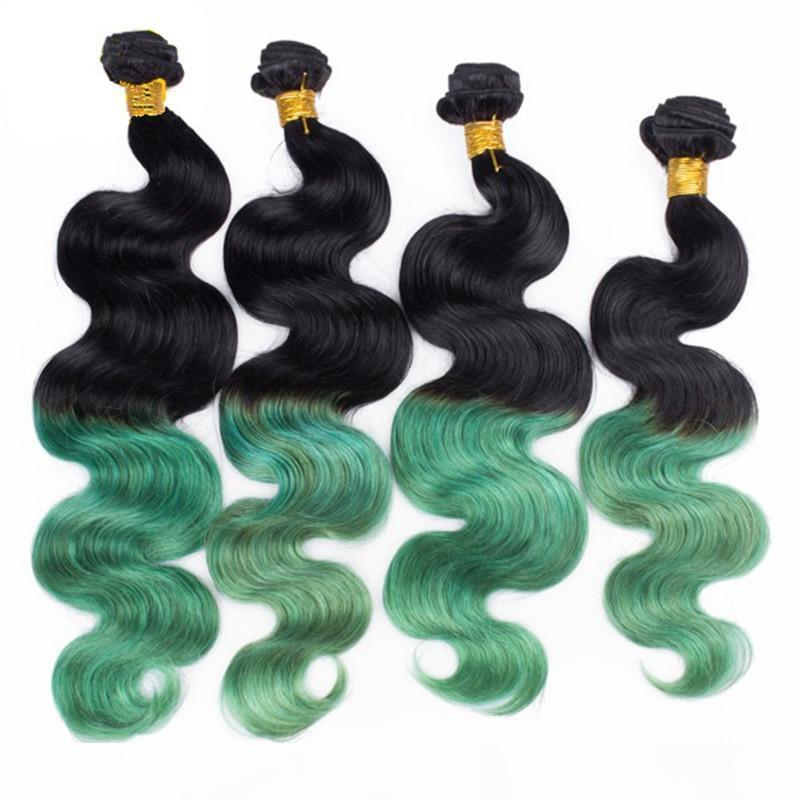 8A onda brasileña ola onda ombre color dos tono 1b verde 3 piezas Hot humano cabello extensiones de pelo dos tono al por mayor paquetes pelo brasileño