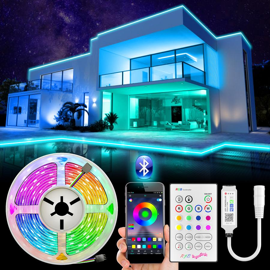 SMD 5050 RGB LED Strip Light 5m LED Luzes RGB LEDs Fita Fita Fita Flexível Bluetooth Control Adaptador DC12V