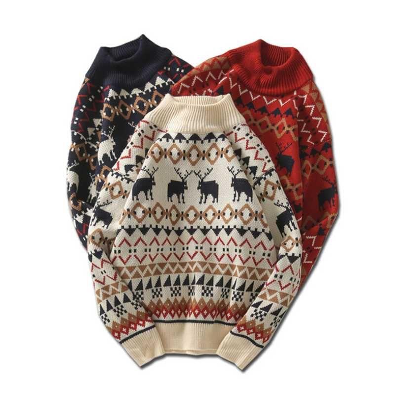 Moda-Erkekler Yeni Noel Kazak Moda Ren Geyiği Baskılı Noel Kazak Kış O-Boyun İnce Kazak Noel Kazak Süveter Tops