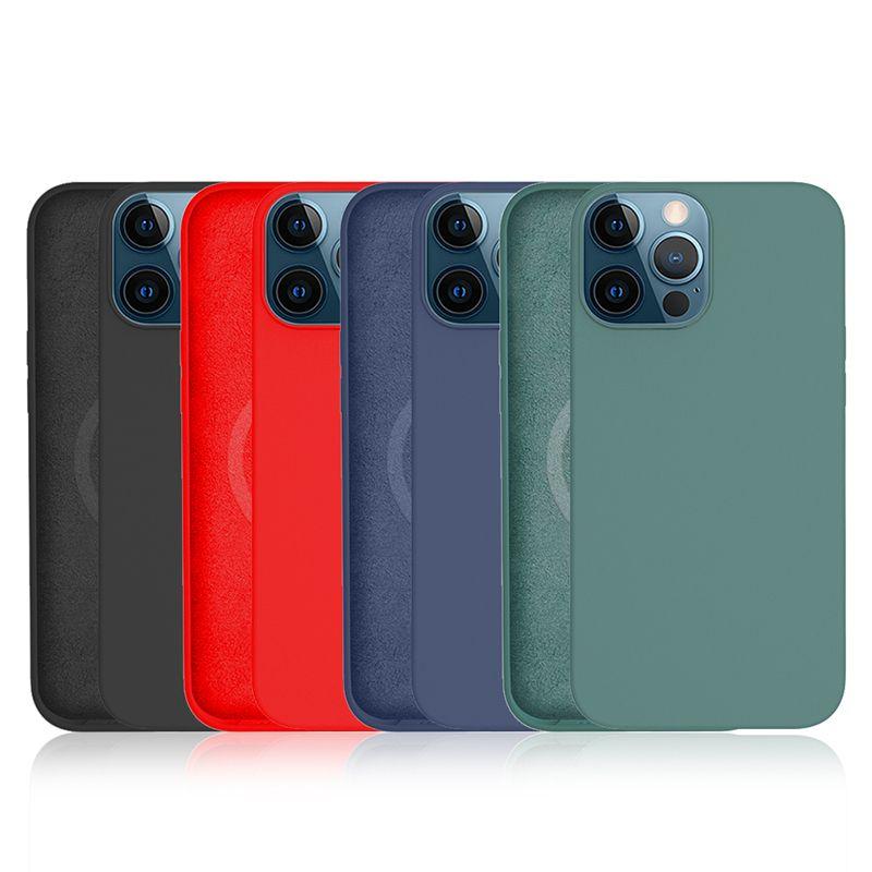 Caso de telefone de carregamento magnético de silicone líquido oficial para iPhone 12 mini 12 Pro Max 12 capa