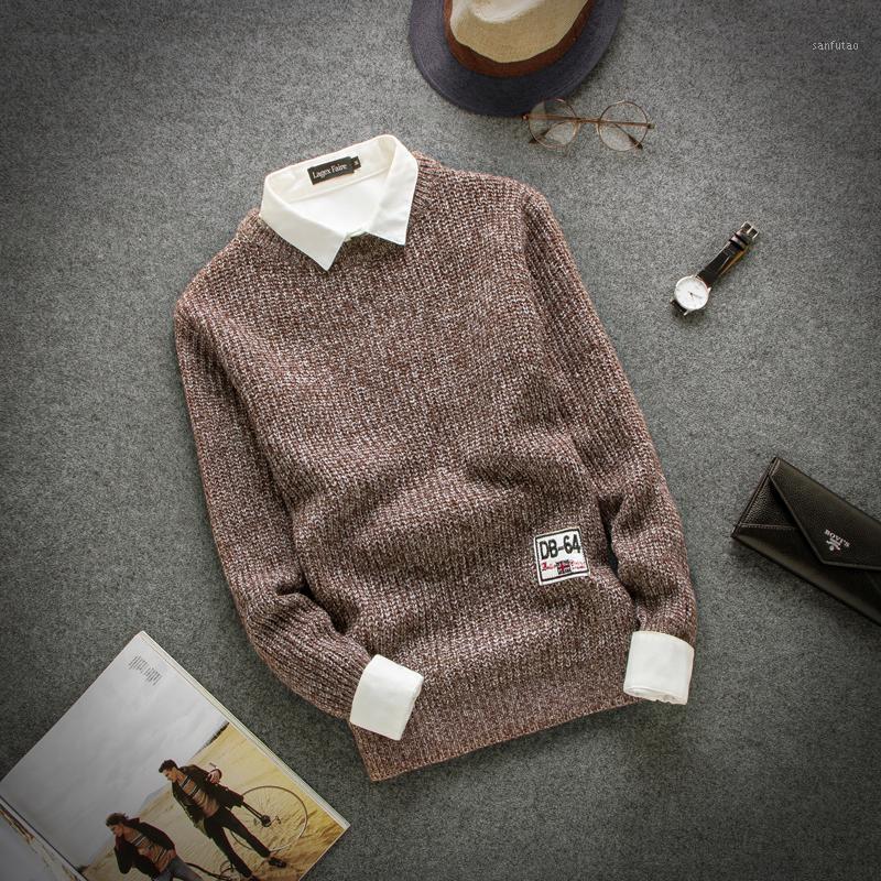 Мужские свитера оптом-! 2021 Осенний модный мужской свитер Случайная пуловер O-шеи трикотажные пальто сплошные длинные1