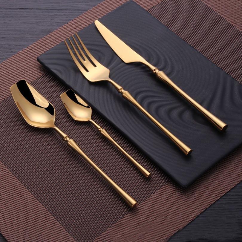 4 adet / takım Paslanmaz Çelik Sofra Altın Çatal Seti Bıçak Kaşık Ve Çatal Set Yemek Kore Gıda Çatal Mutfak Aksesuarları HH9-3678