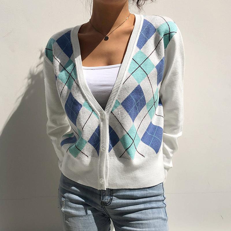 Женская клетчатая печать свитер вязаный кардиган V-образным вырезом свитер с длинным рукавом