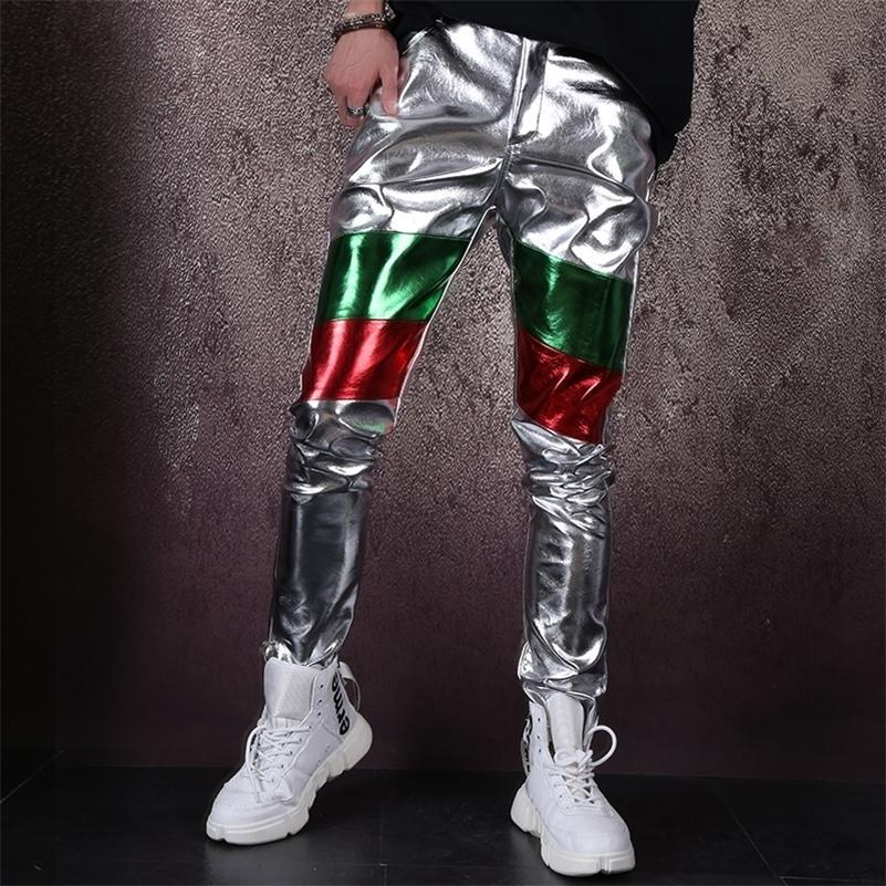 Mens Pantaloni Uomo Casual Streetwear Hip Hop Pu Couro Splice Slim Fit Pantaloni Uomo Casual Casual Mens Calças Fashions Homens 201109
