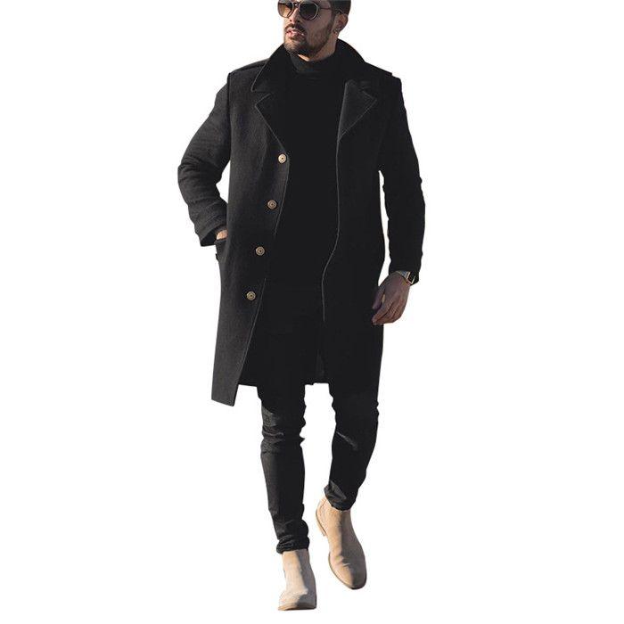 فضفاض رجل الصوف يمزج بلون بلون واحد الصدر عارضة معاطف لون أسود الشتاء الرجال مصمم ملابس خارجية الملابس