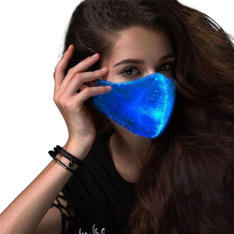 Couleurs Rave 7 dans Strok LED lumineux pour hommes Femmes Femmes masque Masque Musique Partie de Noël Halloween Éclairage Masques