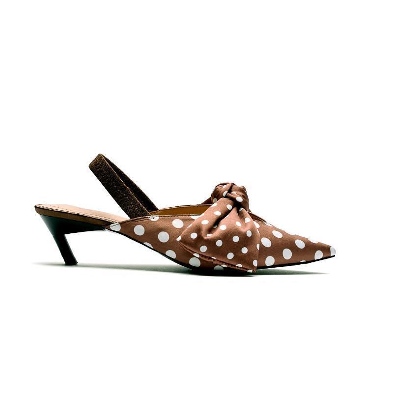 Sandali Summer Donne Donne Cat Tacco Scarpe a punta Dot Stampa Tacchi alti Bow Fashion Sandalias Mujer Chaussure Femme