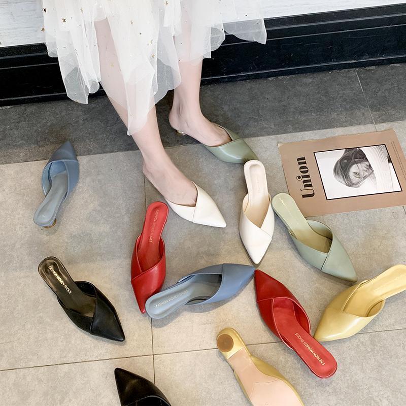Zapatos para mujer Zapatillas Toboganes Casuales Punta de punta Plaza Plaza Mulete Muesos bajos Polofle Soft Soft Luxury Block