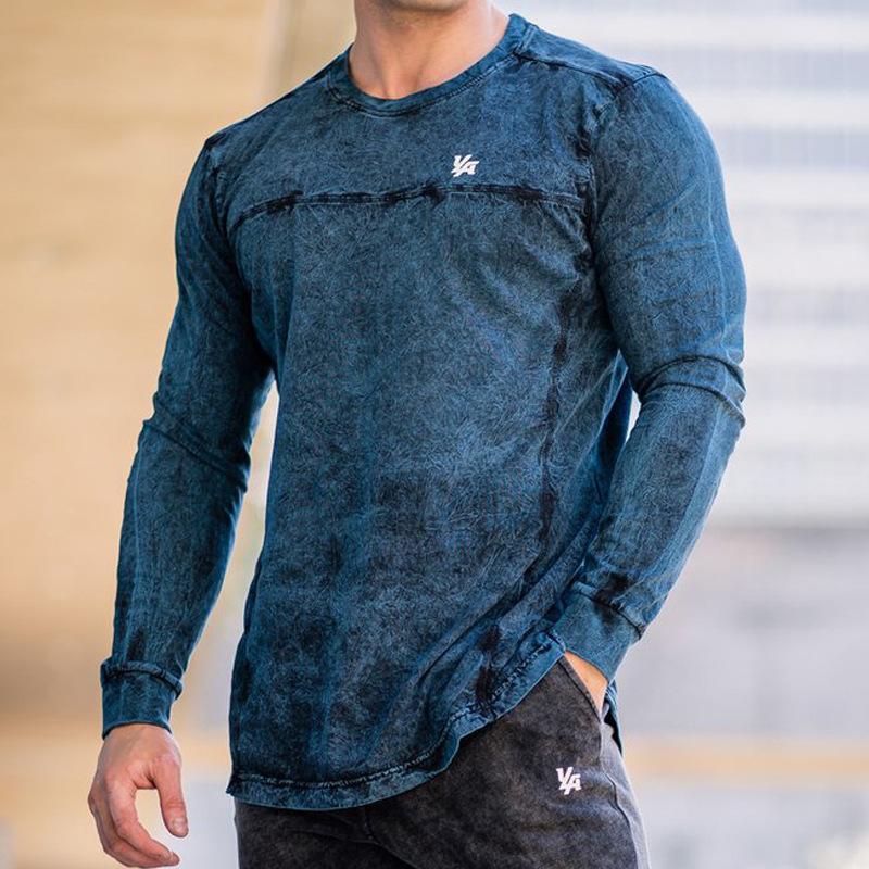 Hombres New dril de algodón de manga larga camiseta del streetwear de la moda camisas Tops Ropa Hombres Y1112