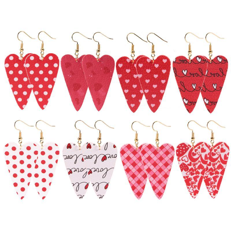 Heißer Verkauf Mädchen Ohrringe Streifen Valentinstag Leder Ohrringe Mädchen Pailletten Waterdrop Ohrring Mädchen Mode Ohrringe Party Geschenk