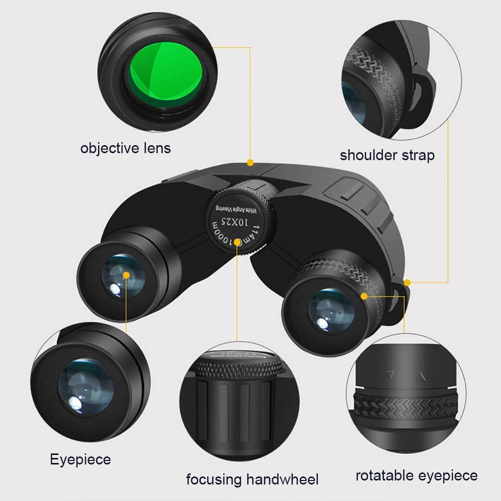 10x25 Портативные Открытые Птицы Бинокль с низким светом телескопа ночного видения