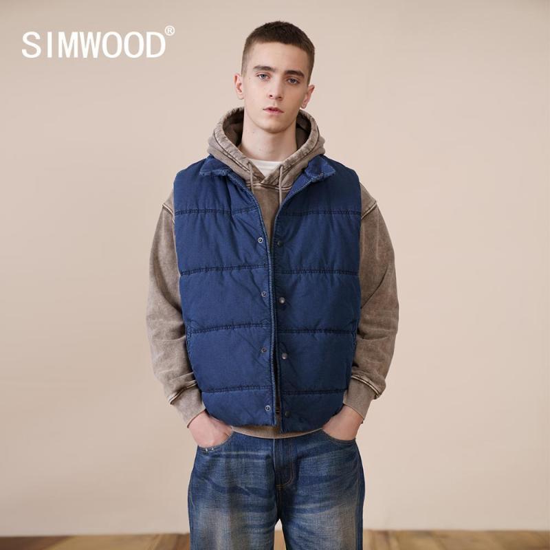 Männer Westen Simwood 2021 Herbst Winter Indigo Retro Baumwolle Gilet Jacken Plus Größe Weste Hohe Qualität Marke Kleidung SJ131157