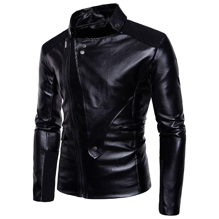 Masculina de couro manga longa oblíqua desligar collar cor sólida jaqueta Cardigan casual tipo zíper casaco tops