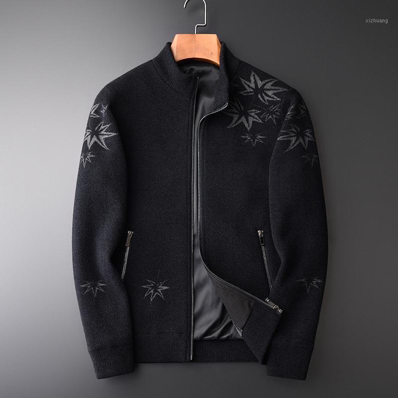 Stehkragen Pullover Mann Winter Luxus Dicke Nickerchen Stoff Strickjacke Herren Pullover Slim Fit Halten Warme Pullover Männlichen M-4XL1