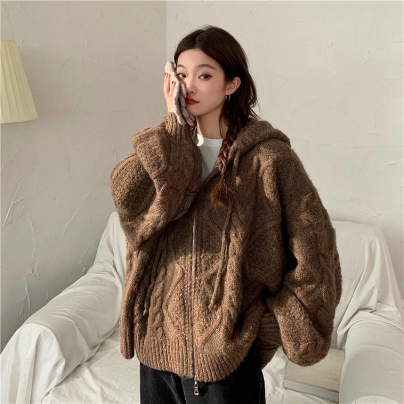 Mujeres otoño invierno torsero cremallera suéter con capucha chaqueta de punto Cardigan chaqueta de gran tamaño larga linterna de manga Outwear 2020