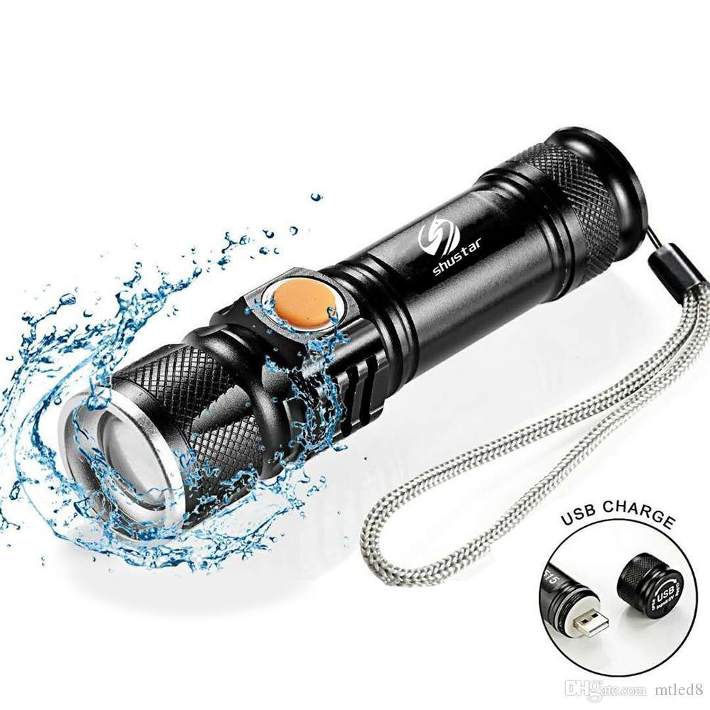 T6 Potente 2000LM LED Torcia elettrica portatile ricaricabile tattica tattica Torce LED Zoom Torcia elettrica