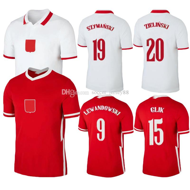 Piatek 2021 Pol Uniformes Grosicki et Jerseys National Home Football Lewandowski Chemises Piszczek Elevé Jersey 2020 Football Milik Men Team BSQS