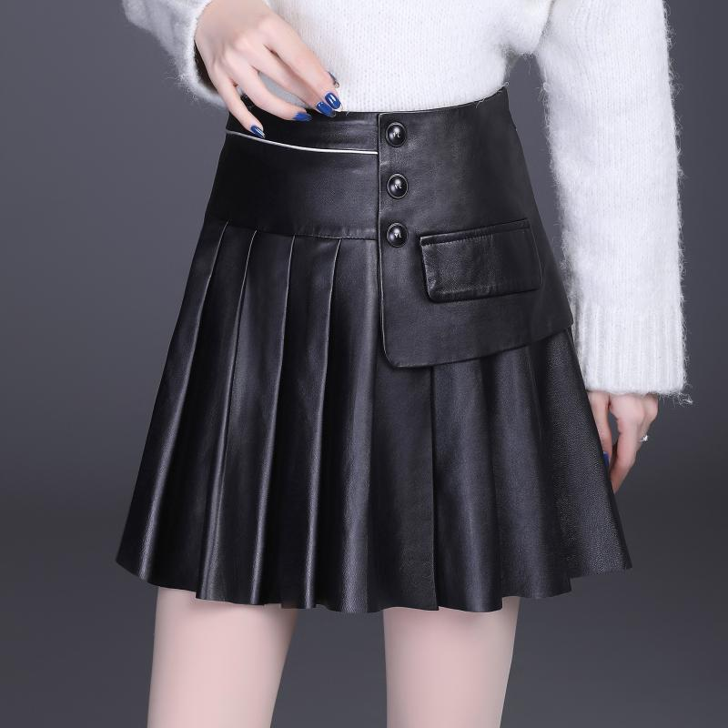 2020 Korean Style Fall Winter Fashion Womens High Waisted Pleated Pu Leather Skirt , Spring 4xl Black Skirts for Woman