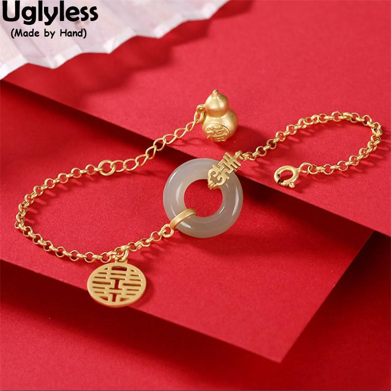 Uglyless Classic Peace Button Jade Emerald Bracelets for Women Real 925 Silver Gourd Bracelet Gold Ethnic Statement Jewelry Gift Q1201