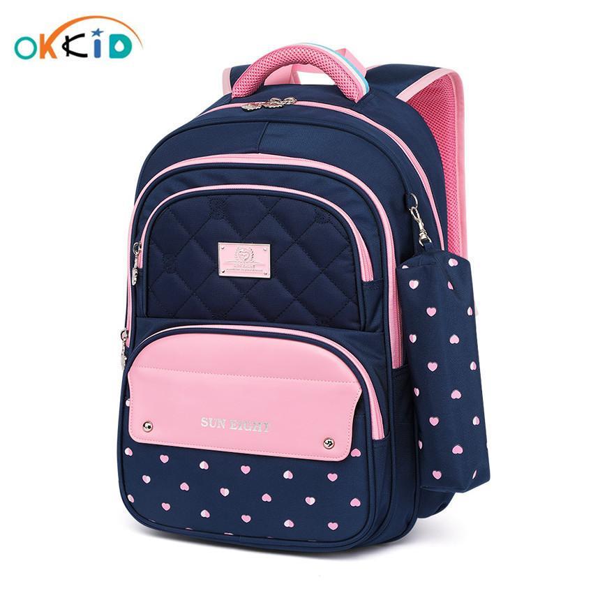 Okkid Elementary School School для девочек в горошек, детская сумка для детей, милая ручка карандаш сумка школа девушка студент школа рюкзак ребенка подарок lj200917