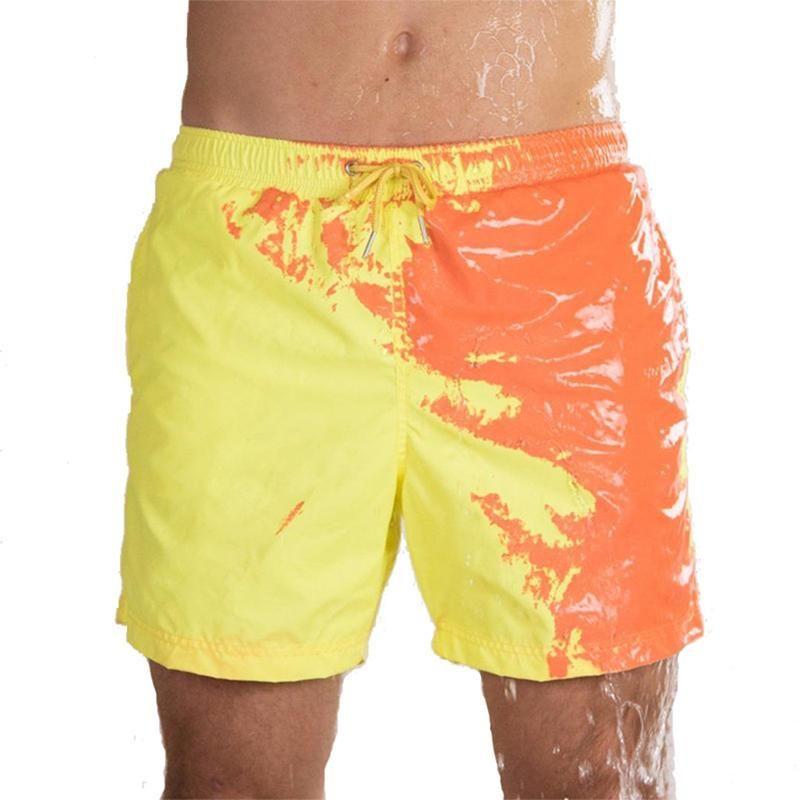 Мужские шорты волшебные изменения цвета пляж лето мужчин плавательные сундуки купальники купальники меняют быстрый сухой
