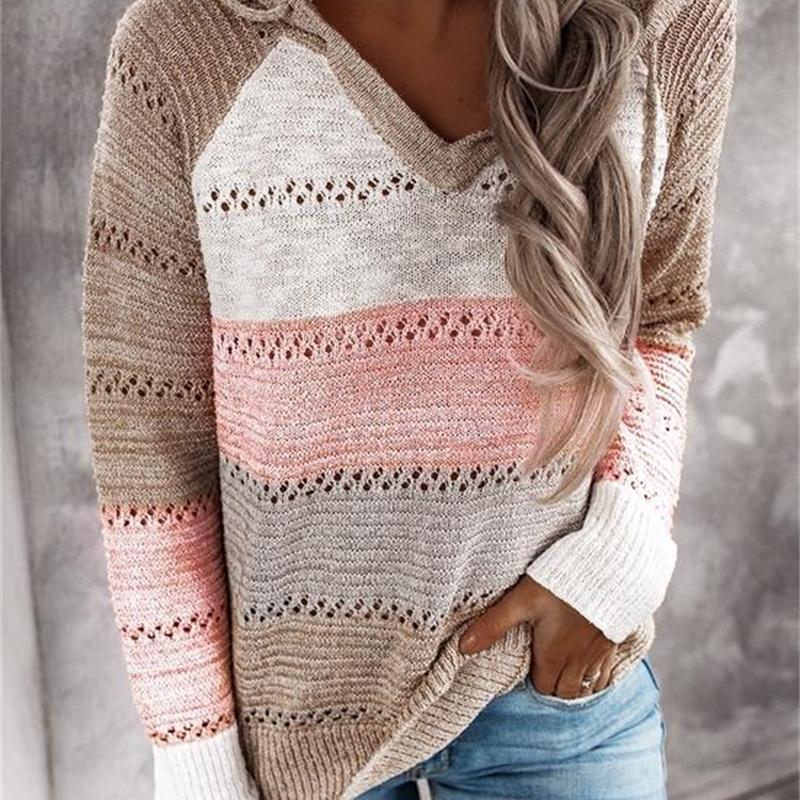 NUEVO otoño invierno patchwork con capucha para mujeres de manga larga con cuello en V Slim Pullover Tops Jumper Plus Tamaño Suéteres de punto femenino