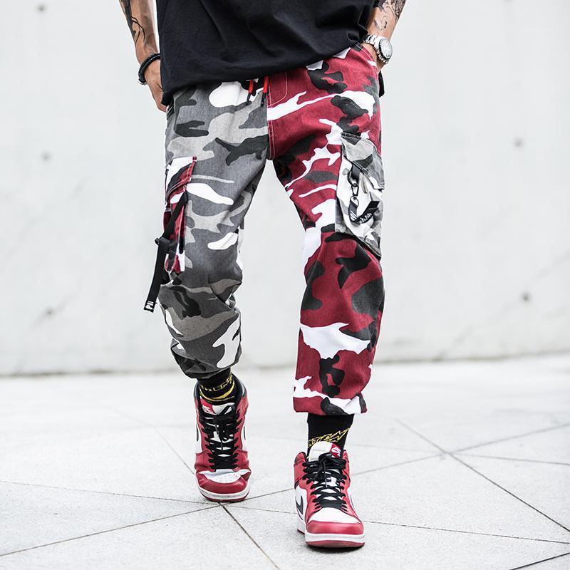 Farbblock Camo Jogger Hosen Herren Hip Hop Casual Camouflage Streetwear Knöchellangen Multi-Tasche Baumwollhose Cargo Pants1