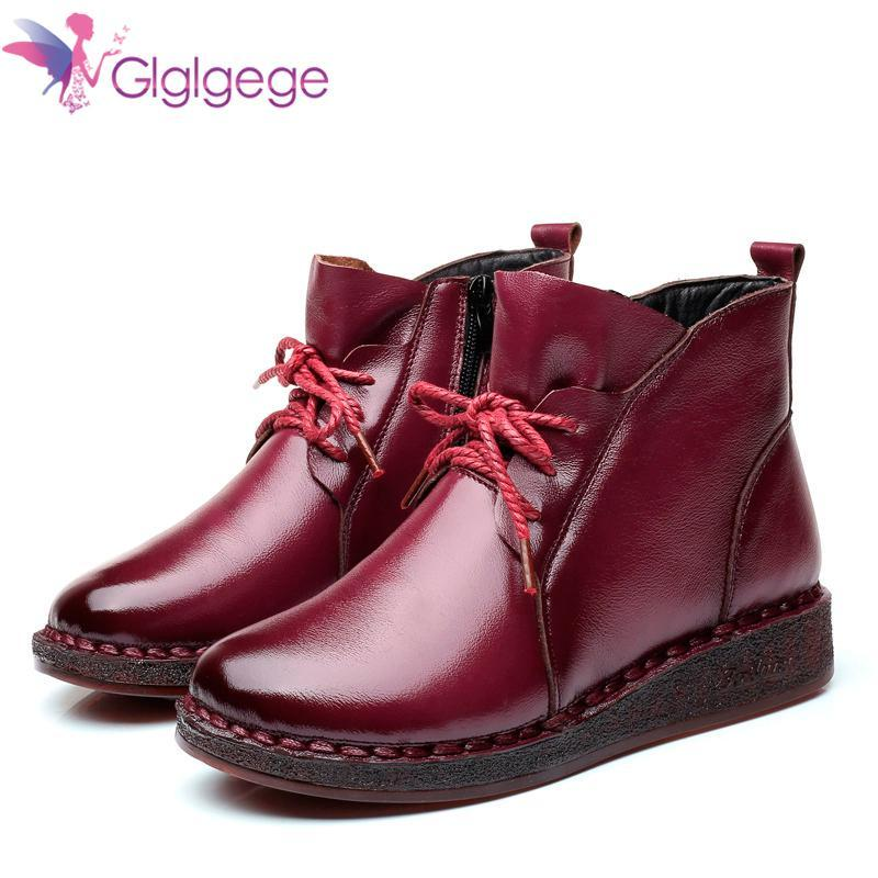 Botas Glglgege Outono Vintage Genuine Leather Handmade para Mulheres Liso Baixo Botão Inverno Bota Sapatos Soft Lace-Up Ankle Woman