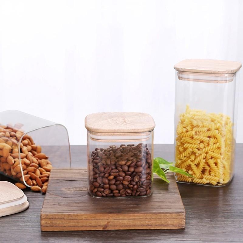 Квадратный герметичный стеклянные банки с высоким боросиликатным для хранения кухни для хранения кухни для хранения кофе в зернах может стеклянная банка каменщика с крышкой еда контейнер Y1119