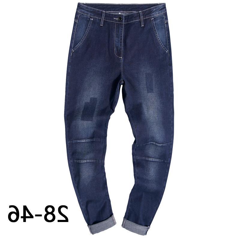 28-46 Повседневная большая большая мода стрейч мужская плюс размер джинсы брюки карандаш нижние дна базовая уличная одежда синяя
