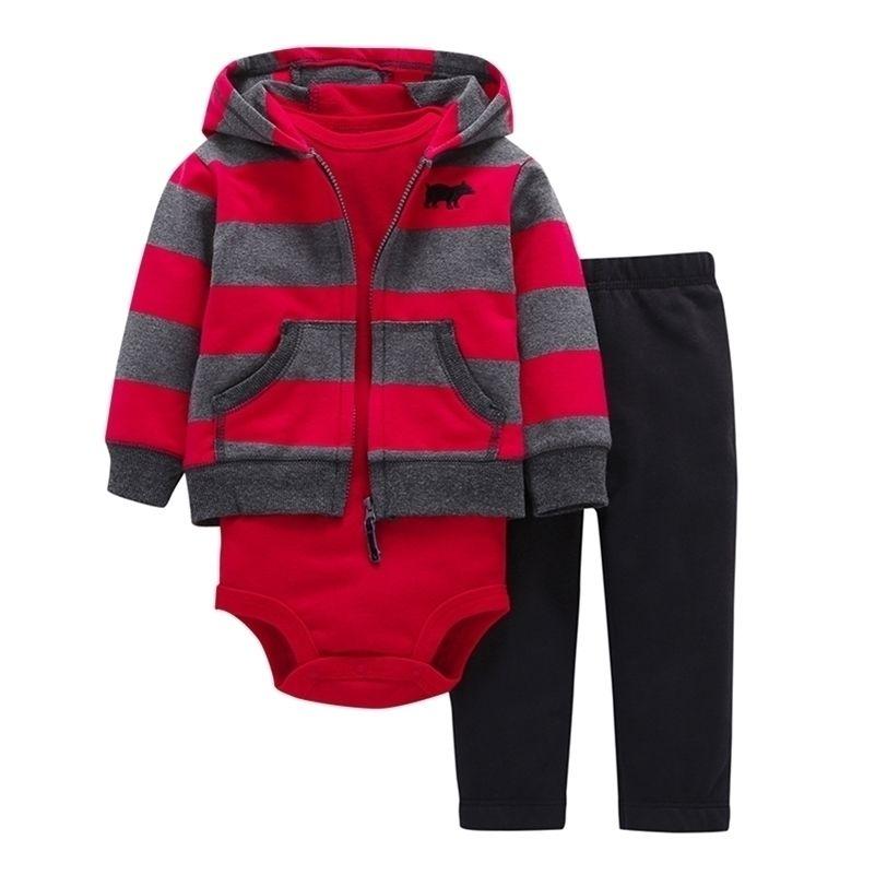 Унисекс новорожденных наряда с длинным рукавом полоса для голоса Bodysuit Брюки 3 шт. Младенческая малыша набор хлопка 6-24 месяца Baby Boy девушка одежда Y200803