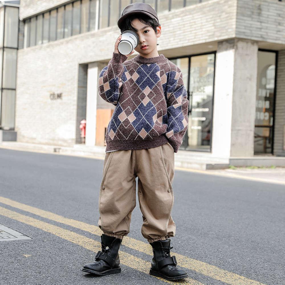 2020 мальчиков новый свитер осенью зима Zhongda иностранный трикотаж детский пуловер