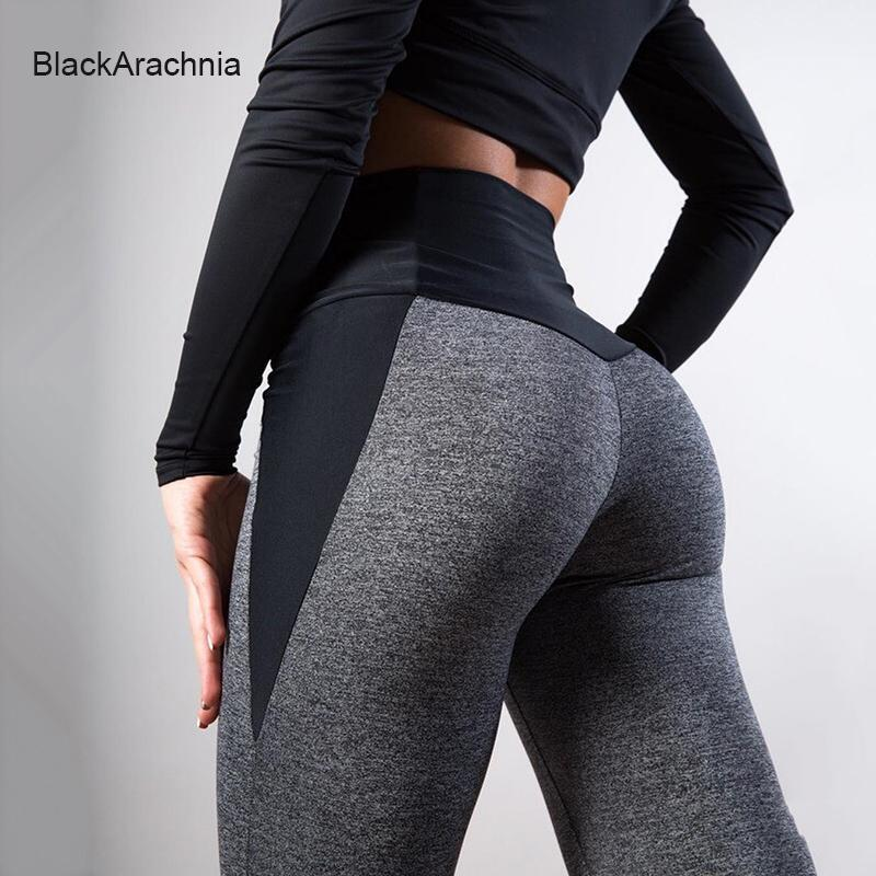 Yoga Tenues Blackarachnia Femmes Fitness Mangging Taille High Taille Push Up Leggings Gym Patchwork Polyester Leggins Femme Sexy