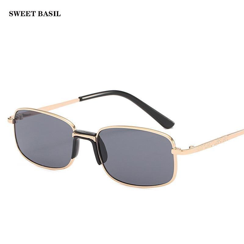 Doce manjericão oculos ouro retângulo vintage mulheres tingido óculos de sol moldura homens óculos lente tons metal cor liga pequena retro hsomg