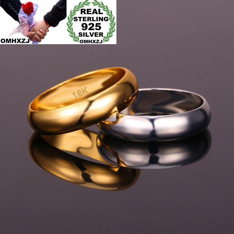 Omhxzj en gros de la mode européenne femme femme fête cadeau de mariage simple 925 sterling argent 18kt rose or jaune or rr389