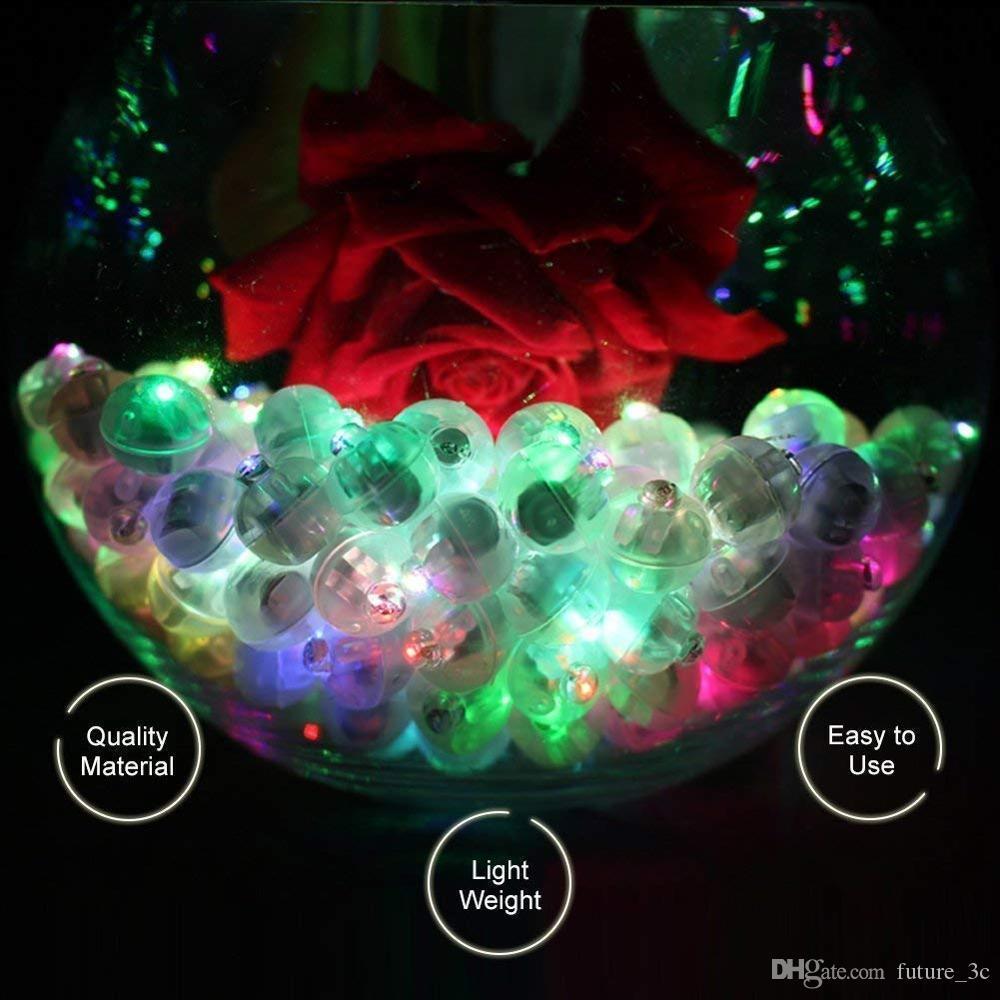 100 adet Renkli LED Balon Işık, Yuvarlak Led Flaş Top Lambası Kağıt Fener Balon Doğum Günü Partisi Düğün Dekorasyon Için