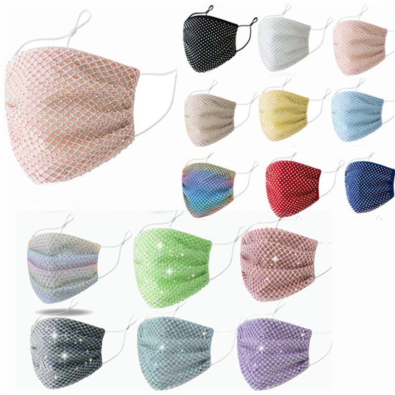 Мода женские маски для лица блестящие горный хрусталь пылезащитный маска для лица женские дышащие покрове рот моющиеся прочные алмазные хлопковые маски для лица