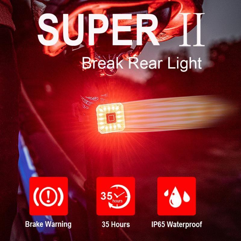 NEWBOLER Square Smart Bike Tail Light Auto Brake Sensing LED Bicycle Lights USB Rechargeable Cycling Taillight Bike Accessories
