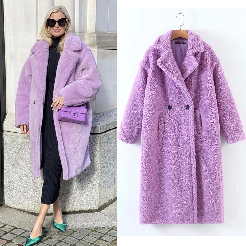 Mode d'hiver Col poignard poilu poitrité shaggy fausse fourrure longue manteau violet femme mouton vestes de x-longs volants garder les vêtements de dessus chaud