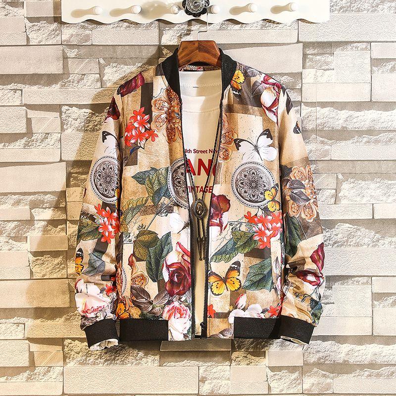 Moda Primavera Outono Fina 2021 Novo Impressão Casual Jaqueta Mens Japonês Hip Hop Streetwear Roupas Plus Oversize 4xl 5xl