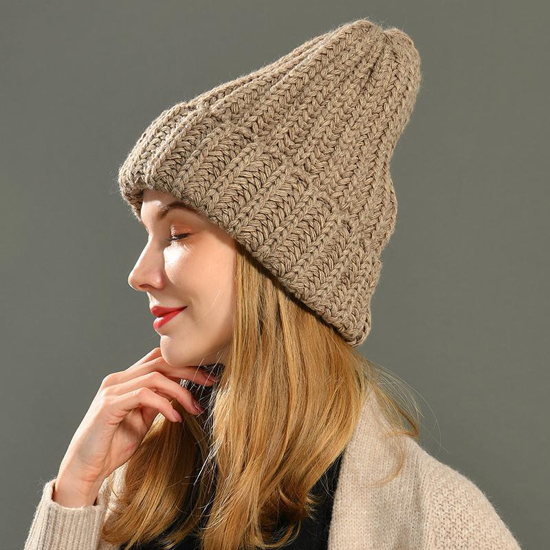 Chapeaux d'hiver pour femmes cashmere chapeau tricoté chaude chaude Slouchy capuchon chapeau à la main crochet ski bonnet chapeau chapeau féminin Soft Soft crullies crullies lj201020