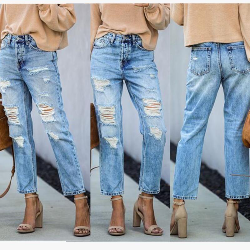 Kadın Kot Kalenmos Kadınlar Için Yırtık Orta Bel Katı Streç Denim Pantolon Rahat Streetwear Kalem Pantolon 2021 Güz Kış Giysileri