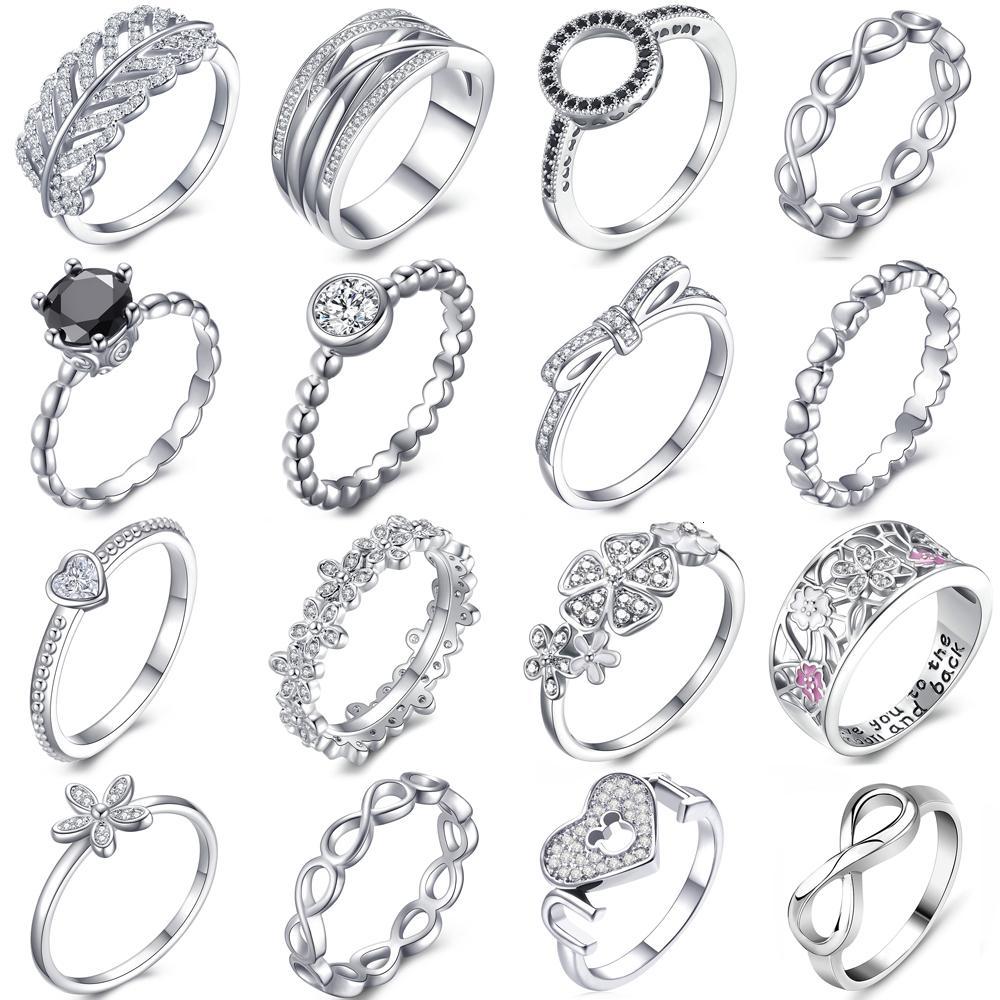 Kadınlar Nişan Düğün Takı Hediyesi için Octbyna Özel Teklif Gümüş Renk Pan Parmak Stackable Parti Orjinal Yüzük