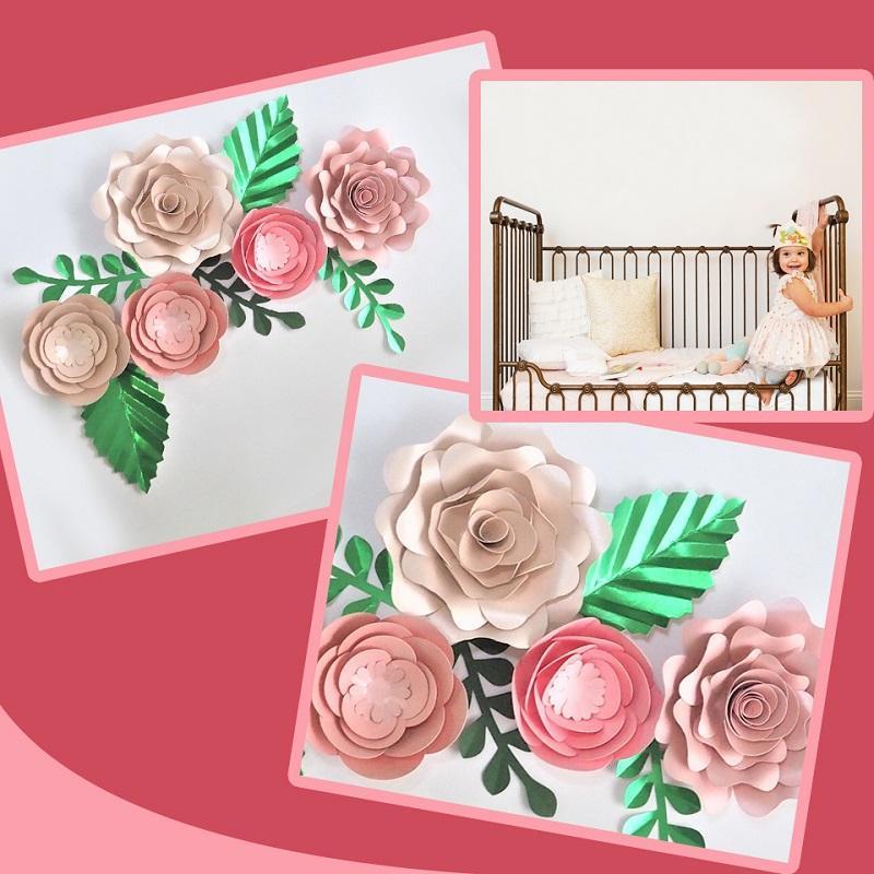 Evento hecho a mano cartulina Rose DIY Flores de papel Hojas fijado para contextos de la boda decoraciones de la pared del cuarto de Deco tutoriales en vídeo