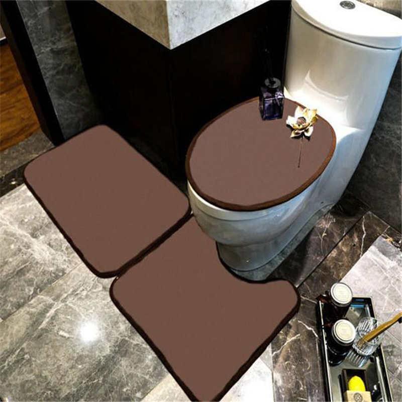 뜨거운 판매 변기 좌석 매트 세트 편안한 미끄럼 방지 욕실 Doormat 홈 욕조 U 자형 매트 화장실 커버
